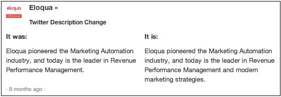 Eloqua Twitter Change 8 months ago